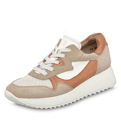 Paul Green Damen Sneaker 4949, Frauen Low-Top Sneaker, schnürer schnürschuh sportschuh Plateau-Sohle weibliche Ladies,Biscuit/White,40 EU / 6.5 UK