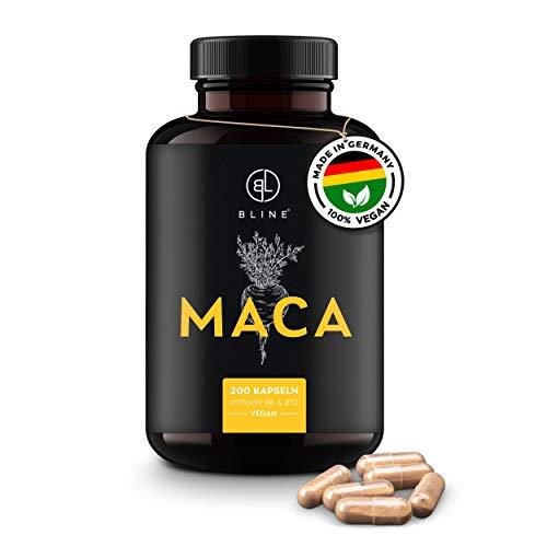 BLINE® Premium MACA Kapseln hochdosiert – 8.000mg je Kapsel – 200 vegane Kapseln, 400mg [20:1 Maca Wurzel Extrakt] – Mit L-Arginin, Zink, Vitamin B6 & B12 – Laborgeprüft, Deutsche Produktion