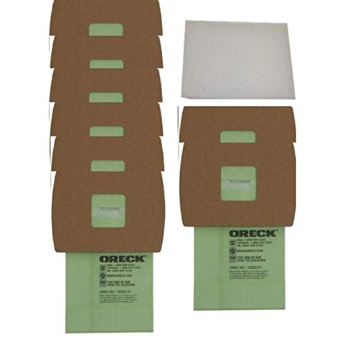 Oreck Super-Deluxe Compact Canister Bags (Green, 8-pack Bags plus 1 Motor Filter) PKBB12DW