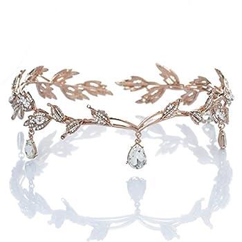 Remedios Rhinestone Leaf Wedding Tiara Headband for Brides Rose Gold Crown Headband for Pageants Wedding Prom Birthday