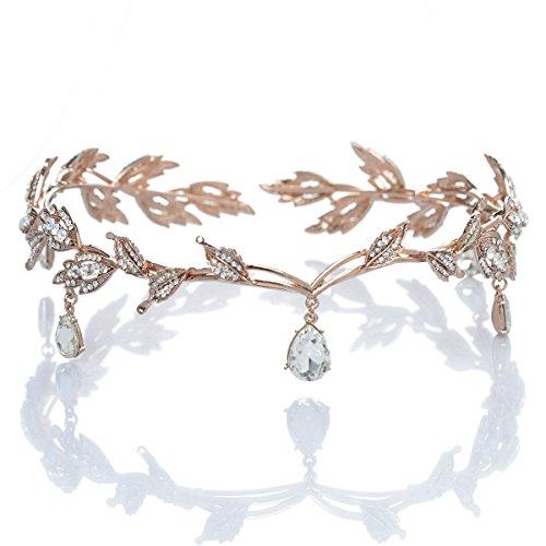 Remedios Tiara de boda con hojas de diamantes de imitación para novias,...