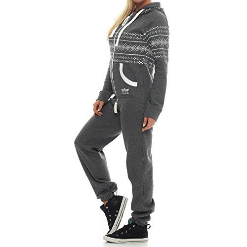 Finchgirl 86D1 Azteken Muster Damen Jumpsuit Overall Jogging Dunkelgrau - 2