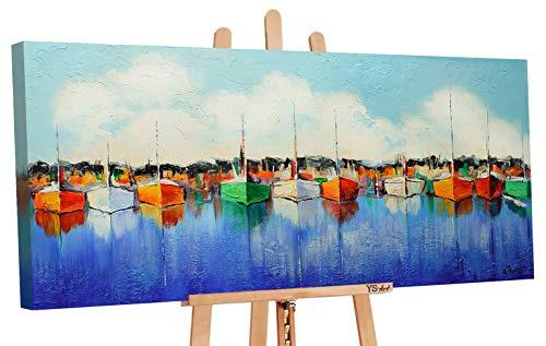 YS-Art | Cuadro Pintado a Mano Embarcadero | Cuadro Moderno acrilico | 115x50 cm | Lienzo Pintado a Mano | Cuadros Dormitories | único | Azul