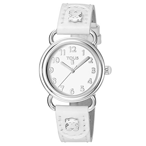 Reloj Baby Bear de acero con correa de piel blanca Ref: