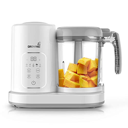Baby Food Maker | Baby food Processor | Puree Blender Multi-Function Steamer Grinder Blender, Baby Food Warmer Mills Machine, Constant Temperature 24H, Auto Cooking & Grinding, 8 Reusable Food Pouches