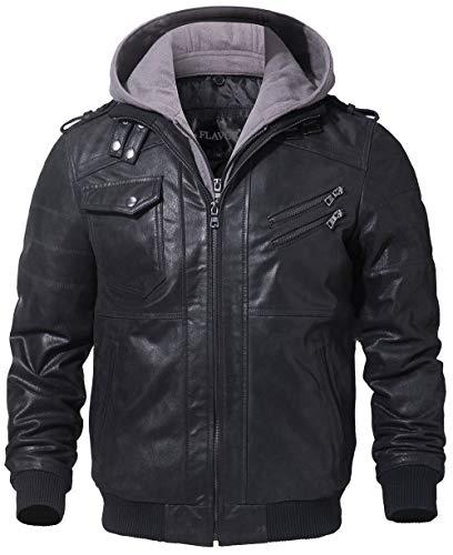 FLAVOR Men's Leather Motorcycle Jacket with Removable Hood Brown Pigskin (Medium (US Standard), Black+Gray)