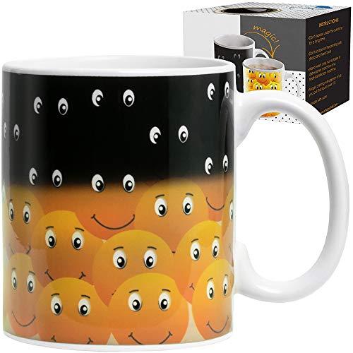 Magische Farbwechsel lustige Tasse - Kaffee & Tee Einzigartige wärmeempfindliche Tasse 12 Oz Smiley Gesichter Design Drink Keramik, niedliche Geburtstagsgeschenkidee für Mama Papa Freund Damen, Herren