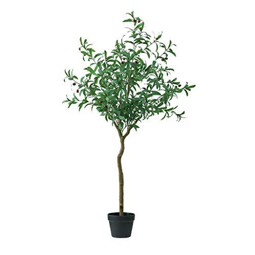 BOWCORE bijna natuurlijke olijfboom simulatie groene planten 150cm kunstmatige grote vloer nep boom olie olijfboom gepotte zwarte bloem pot binnen decoratie