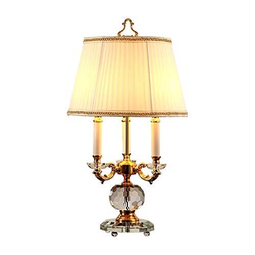 WENMENG2021 Lámpara de escritorio tradicional, lámpara de mesa de cristal, soporte para velas, base de cristal, adecuada para dormitorio o salón