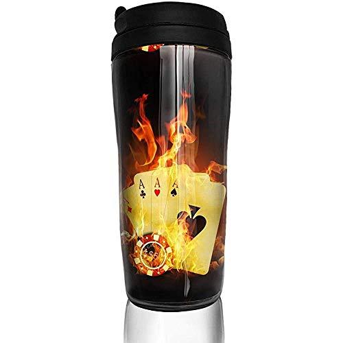 Yuanmeiju Burning Poker Cards Botella de agua Tazas de Trave Taza de café Vaso Taza de viaje reutilizable para exteriores