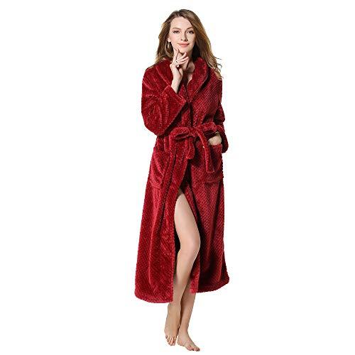 MRULIC Damen Bademantel Prato Mit V-Kragen Größen Winter Verlängert Plüsch Schal Langarm Robe Fleece Mantel Tasche Kuschelfleece Kapuze Flanell(Weinrot,XL)