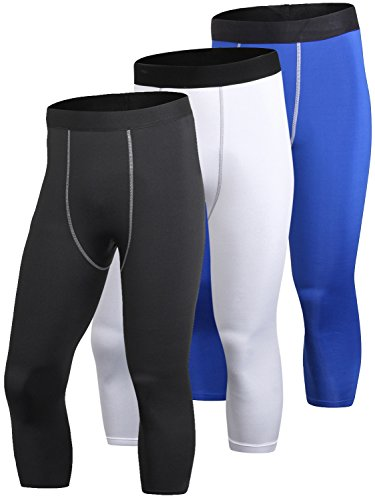 Yuerlian Herren Kompressionshose 3/4 Capri Shorts Baselayer Cool Dry Sport Tights 3er Pack