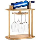 High-Grade Wooden Wine Rack & Wine Glass Holder – 100% Natural Bamboo Wine Holder - 360° Swivel...