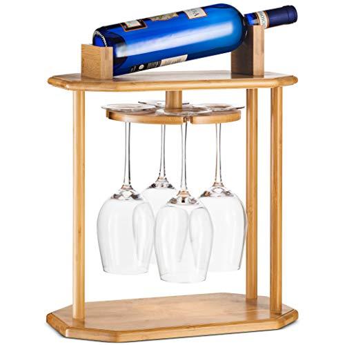 High-Grade Wooden Wine Rack & Wine Glass Holder – 100% Natural Bamboo...