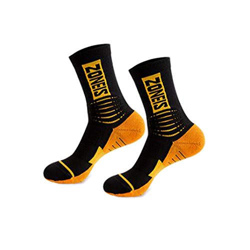 Soft Cushion Athletic Sport Socks For Men Performance Crew Socks for Running and Hiking Compression Socks for Men (Orange)