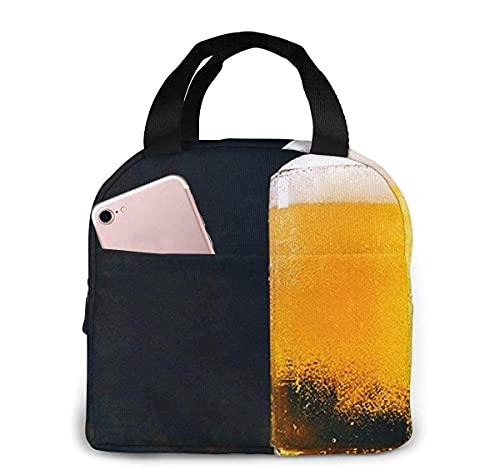 Bolsa de almuerzo con aislamiento de cerveza rústica para mujeres y hombres, bolsa de almuerzo reutilizable con bolsa de almuerzo organizador con bolsillo frontal