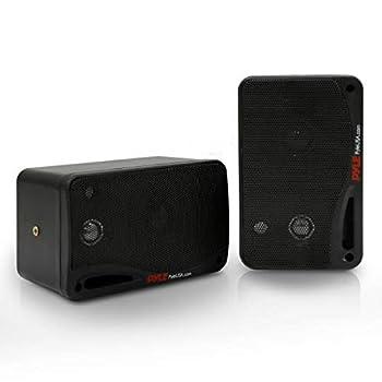 Outdoor Waterproof Wireless Bluetooth Speaker - 3.5 Inch Pair 3-Way Active Passive Weatherproof Wall Ceiling Mount Dual Speakers System w/Heavy Duty Grill Patio Indoor Use - Pyle PDWR42BBT  Black