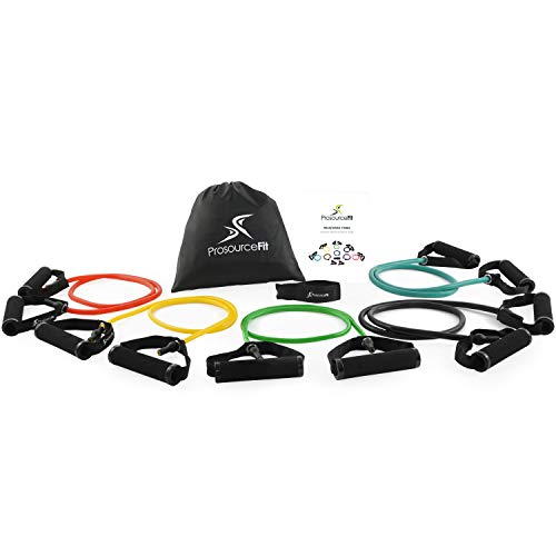 ProsourceFit Tube Resistance Bands Set with Attached Handles, Door Anchor, Carrying Case and Exercise Guide