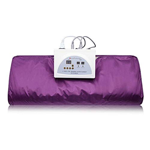 ETE ETMATE FIR Sauna Blanket, 2 Zone Controller Digital Heat Sauna Slimming Blanket Body Shaper Detox Therapy Anti Ageing Beauty Slimming Fitness Machine (Purple)