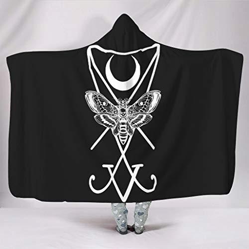 Manta supersuave con capucha, color negro y blanco, diseño de polillas, cráneo, muerte y luna, para tatuar, estampado cálido, para invierno, sherpa, étnico, pahmina con capucha, silla de camping, dormitorio, blanco, 150 x 200cm