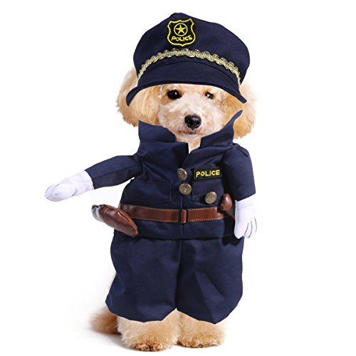 UEETEK Disfraces para Perro Gato Mascotas Traje Policía Ropa Tamaño L