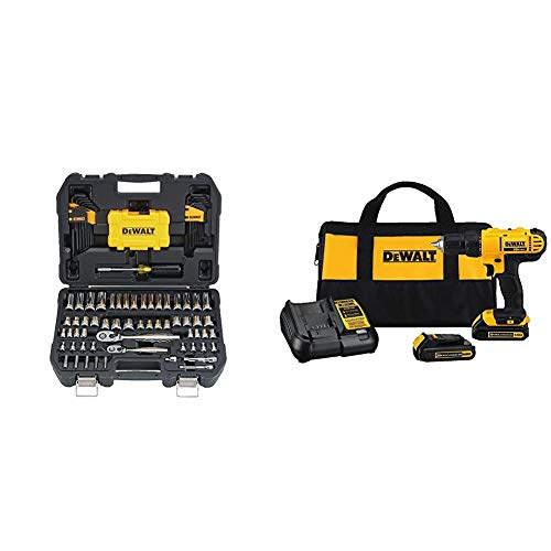 DEWALT Mechanics Tools Kit and Socket Set, 108-Piece (DWMT73801) & 20V MAX Cordless Drill / Driver Kit, Compact, 1/2-Inch (DCD771C2)