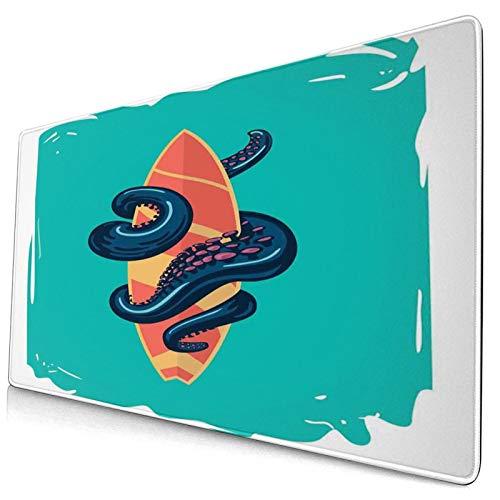 HUAYEXI Alfombrilla Gaming,Tentáculos de Pulpo con Tabla de Surf Ilustración de Cartel de Estilo Retro de Deportes acuáticos,con Base de Goma Antideslizante,750×400×3mm