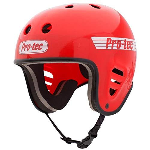 Pro-Tec フルカット ウォーター アクセサリークリップ付き (グロスレッド) ウェイクボードヘルメット-S