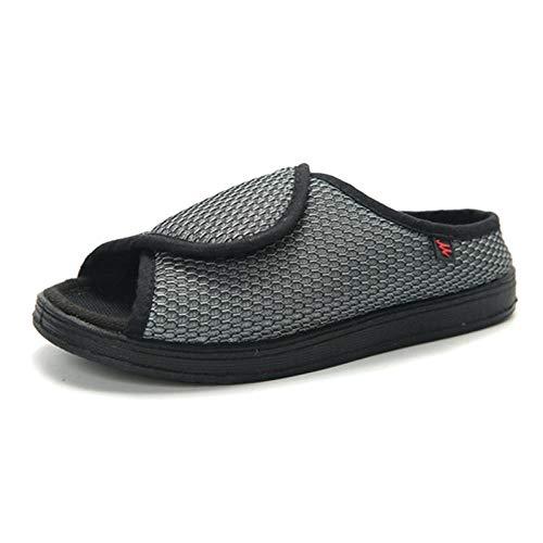 CCSSWW Zapatos DiabéTicos para Hombre Ajustable Calzado para Personas DiabéTicas Calzado Interior Antideslizante para DiabéTicos -Gris_35