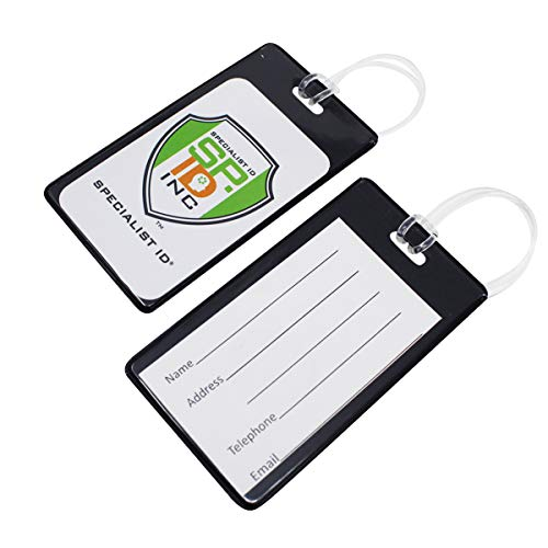 25 Pack - Vivid Backpack ID Luggage Tags for Student Identification Cards - School Name Badge Holder for Backpacks - Business Card Size with Clear Insert Window by Specialist ID (Black)