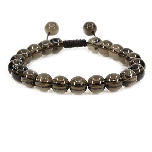 Pulsera natural de cuarzo ahumado borlas Macrame la pulsera ajustable | 7.5? Longitud de la pulsera Chakra Reiki con cable de piedras preciosas | Trenzada pulsera unisex | 8mm granos redondos