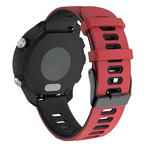 Pulseira Dual 22mm compatível com Samsung Galaxy Watch 3 45mm - Galaxy Watch 46mm - Gear S3 Frontier - Amazfit GTR 47mm - Marca LTIMPORTS (Vermelho com Preto)