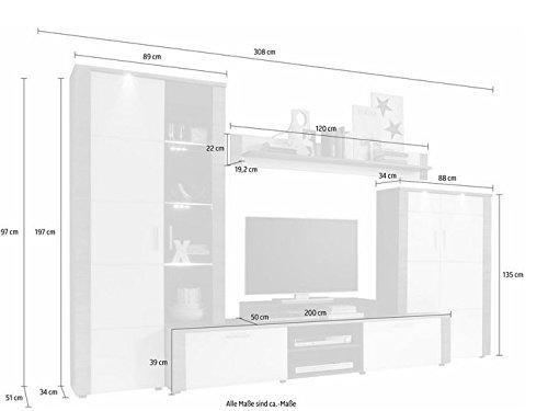trendteam XP98710 Wohnwand Anbauwand Wohnzimmerschrank Xpress Esche grau Nachbildung und Fronten in weiß Nachbildung, 308 x 197 x 51 cm - 4