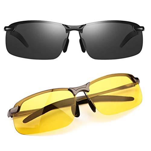 TERAISE 2-pack rijden gepolariseerde zonnebril + nachtkijker Klassieke stijl UV400 ontspiegelde HD-zonnebril voor autorijden en buiten/vissen