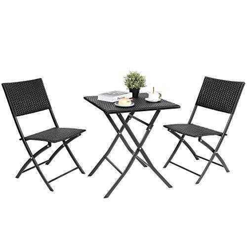 Femor Set 3 Pezzi Tavolino, Set di Mobili da Balcone in Polyrattan, Set Tavolo Tavolino Pieghevoli in Acciaio (60X60X71.7cm), con 2 Sedie Pieghevoli, per Cortile, Giardino e Esterno