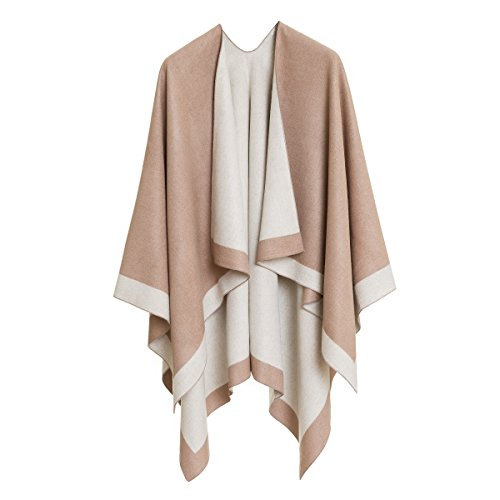 MELIFLUOS DESIGNED IN SPAIN Women's Shawl Wrap Poncho Ruana Cape Cardigan Sweater Open Front for Fall Winter (PC01-15)