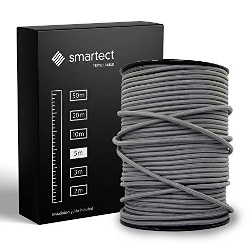 smartect Cable Textil Trenzado en Color Grisoscuro - Cable Electrico 3 hilos...