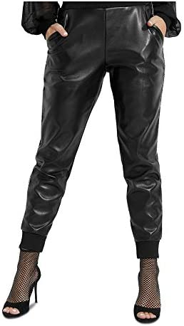 GUESS Womens Mica Faux Leather Coated Jogger Pants Black L product image