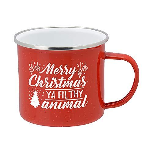 Taza de café festivo, esmalte rojo, 473 ml, taza de café para el hogar y regalo, Merry Xmas Ya Filthy Animal