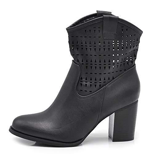 IF Fashion Scarpe Stivali Stivaletti alla Caviglia Camperos Texani Tacco da Donna 633 Nero N.40