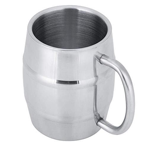 Tazas de cerveza de 10 oz/14 oz, tazas de cerveza de acero inoxidable con asa para café, cerveza, té(420ml /14oz)