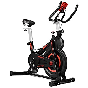 OneTwoFit Indoor Exercise Bike with Monitor,Adjustable Seat & Handlebars Cycling Bike for Home Cardio Workout OT212