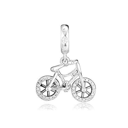 Pandora 925 pulsera de la joyería granos naturales para la bicicleta brillante colgante encantos se adapta a las mujeres de plata esterlina regalo de bricolaje
