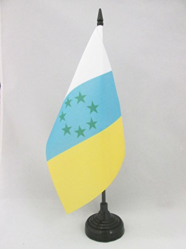 AZ FLAG Bandera de Mesa de CANARIAS INDEPENDENTISTA 21x14cm - BANDERINA de DESPACHO NACIONALISMO Canario - NACIONALISTA 14 x 21 cm