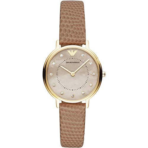 Emporio Armani Damen Analog Quarz Uhr mit Leder Armband AR11151