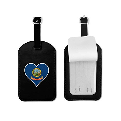 Love Idaho Luggage Tags,Pu Leather Name Id Labels with Privacy Cover for Travel Bag Suitcase