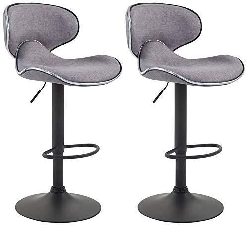 CLP Set De 2 Taburetes De Bar Las Vegas V2 Tapizados En Tela I 2 Sillas Altas Regulables En Altura & Asiento Giratorio, Color:gris claro, Color del marco:negro