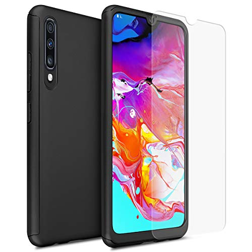 AICase Slim Case for Samsung Galaxy A70 with Glass Screen Protector, Hard Plastic PC Ultra Thin Mobile Phone Cover Case with Matte Finish Coating Grip Compatible with Samsung Galaxy A70