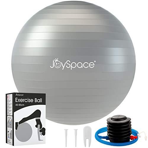 JOYSPACE Gymnastikball 65cm Sitzball Extra Dicker Yoga-Ball-Stuhl Anti-Berst-Stabilitätsball Pilates Ball als Fitness Kleingeräte und Balance Stuhl im Büro Hause Fitnessstudio inkl. Luft-Pumpe,Grau