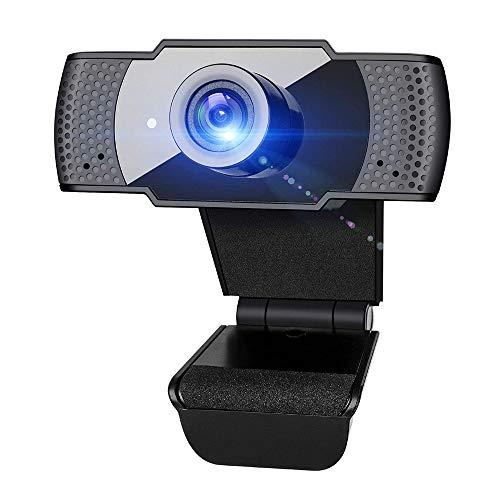 LIUDOU 1080P Webcam con Micrófono, Cámara Portátil USB PC De Escritorio del Ordenador con El Clip Ajustable para Llamadas De Video, Estudio, Grabación Y Juegos